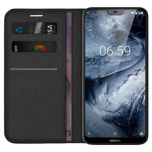 Leather Wallet Case & Card Slot Holder for Nokia 6.1 Plus - Black